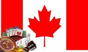 The Canadian flag with popular casino games